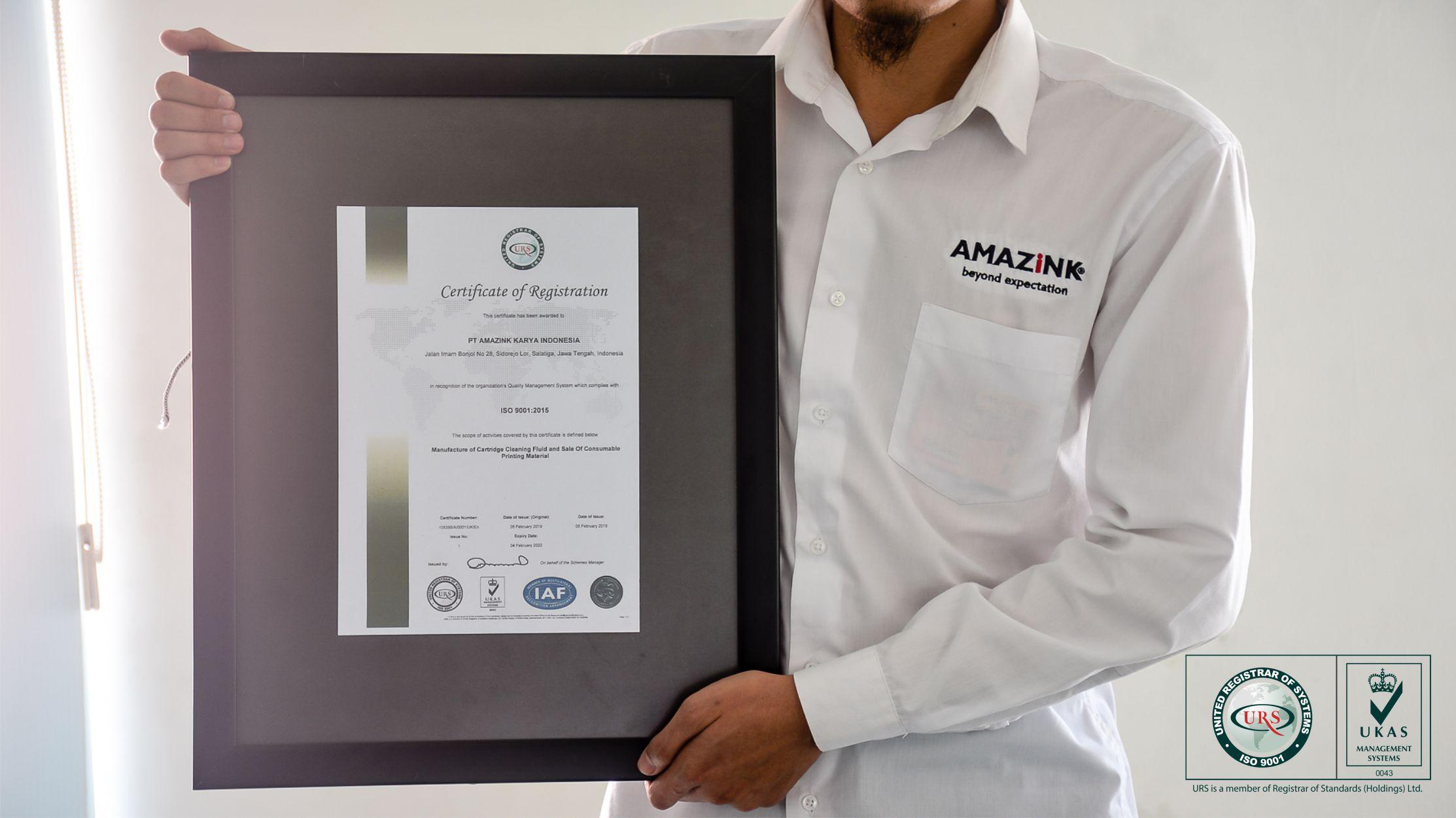 AMAZiNK Mendapatkan Sertifikasi ISO 9001 : 2015
